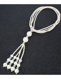 Fashion Rice White Crystal Pearl Multilayer Geometric Necklace
