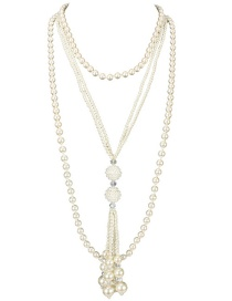 Fashion Rice White Crystal Pearl Geometric Multilayer Necklace