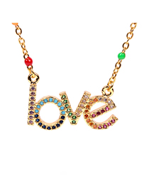 Fashion Color Micro-set Zircon Dripping Alphabet Necklace