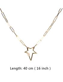 Fashion 40cm Thick Chain Micro-set Zircon Pentagram Necklace