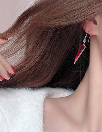 Fashion Red Geometric Triangle Alloy Earrings With Gems