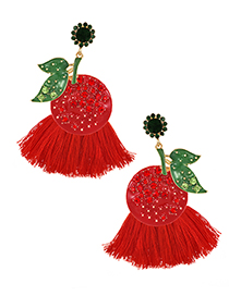 Fashion Red Fruit Tassel Earrings With Alloy Diamonds