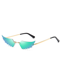 Fashion Green Film Cat Eye Frameless Wings Women S Sunglasses