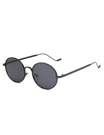Fashion Black Frame All Gray Metal Oval Sunglasses