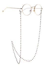 Fashion Silver Multicolored Square Crystal Stainless Steel Color-retaining Non-slip Glasses Chain
