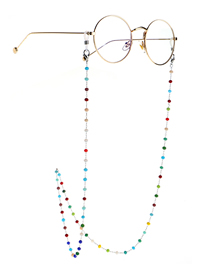 Fashion Silver Colorful Round Crystal Stainless Steel Chain Non-slip Glasses Chain