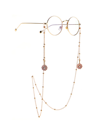 Fashion Pink Small Daisy Color Retaining Bead Metal Chain Glasses Chain