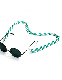 Fashion Blue And White Mixed Color Acrylic Leopard Tortoiseshell Amber Glasses Chain