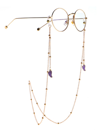 Fashion Purple Eyeglasses Chain With Dripping Wings And Color Retention Clip