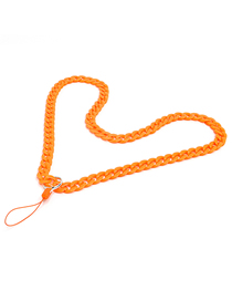 Fashion Orange Acrylic Solid Color Chain Hanging Neck Mobile Phone Chain