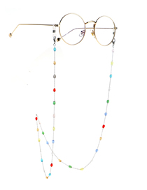 Fashion Silver Colorful Oval Crystal Stainless Steel Chain Non-slip Glasses Chain