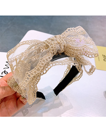 Fashion Leaf Section Lace Printed Double-layer Wide-brimmed Bow-knot-knot Headband