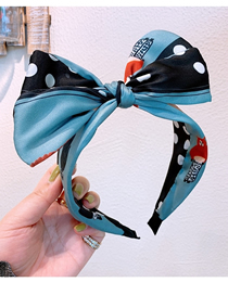 Fashion Light Blue Wave Point Contrast Color Stitching Bow Non-slip Wide-brimmed Headband