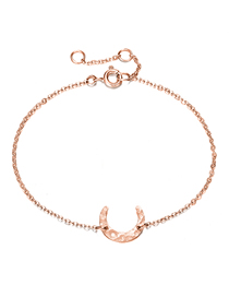 Fashion Rose Gold Stainless Steel Moon Adjustable Thin-edged Bracelet