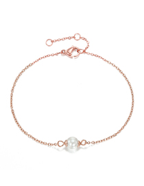 Fashion Rose Gold Fine-edged Bracelet With Pearl Chain