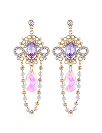 Fashion Color Sequined Pearl And Diamond Geometric Alloy Earrings
