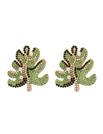 Fashion Green Diamond Pearl Earrings
