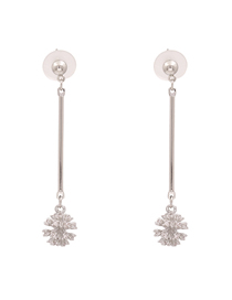 Fashion Silver + White Firework Alloy Notched Diamond Earrings