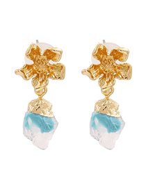 Fashion Blue Alloy Flower Resin Earrings
