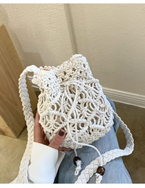Fashion White Cotton Woven Shoulder Crossbody Bag