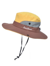 Fashion Two-color Children-yellow Horsetail Hole Stitching Contrast Color Shrink Buckle Children Fisherman Hat