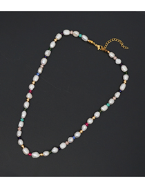 Fashion White Crystal Natural Freshwater Pearl Color-preserving Gold Bead Necklace