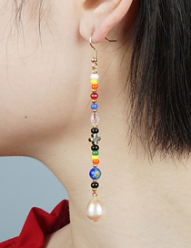 Fashion Color Mixing Natural Freshwater Pearl Glazed Flower Bead Cross Earrings