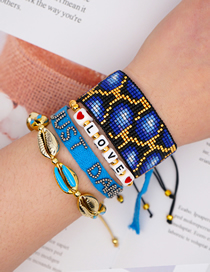 Fashion Suit Blue Hand-woven Rice Pearl Leopard Shell Color-preserving Gold Bead Bracelet