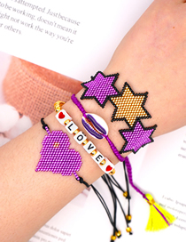 Fashion Suit Black Rice Beads Hand-woven Love Shell Tassel Six-pointed Star Bracelet