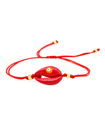 Fashion Red Natural Lacquered Shell Dripping Eye Braided Bracelet