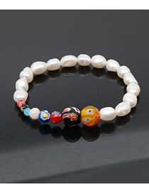 Fashion Color Mixing Glazed Flower Bead Natural Freshwater Pearl Bracelet