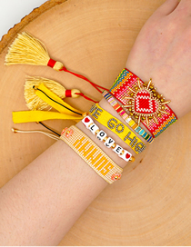 Fashion Suit Yellow Rice Beads Hand-woven Love Tassel Alphabet Bracelet