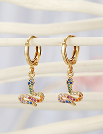 Fashion Golden Color Snake Micro-set Zircon Alloy Snake Earrings