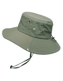 Fashion Army Green Sunscreen And Uv-proof Metal Hole Breathable Fisherman Hat