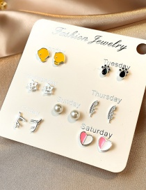 Fashion Color Mixing Love Feather Pearl Five-pointed Star Ear Studs Set