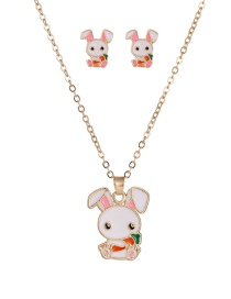 Fashion White Dripping Carrot Bunny Alloy Earring Necklace Set