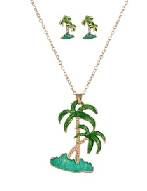Fashion Green Coconut Tree Drop Oil Contrast Alloy Stud Necklace Necklace Set
