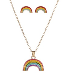 Fashion Color Mixing Rainbow Drop Oil Alloy Earring Necklace Set