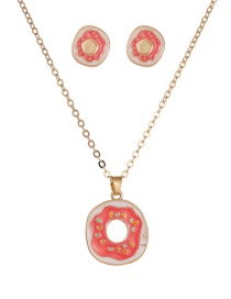 Fashion Pink Oil Dropping Color Donut Alloy Earring Necklace Set