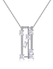 Fashion Platinum Copper-inlaid Zircon Geometric Openwork Necklace