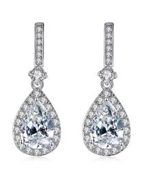 Fashion Platinum Copper Drop Zircon Geometric Drop Earrings
