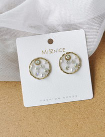 Fashion Round Transparent Resin Pearl Love Round Five-pointed Star Earrings