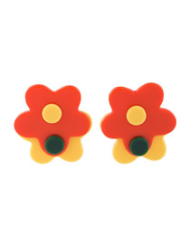 Fashion Orange Studded Acrylic Two Flowers Contrast Color Earrings