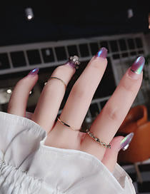 Fashion Golden 3 Piece Set Of Geometric Lattice Texture Chain Joint Ring