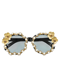 Fashion Yellow Resin Alloy Diamond Flower Round Sunglasses