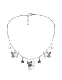 Fashion White K Butterfly Pentagram Tassel Alloy Necklace