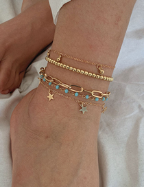 Fashion Golden Cross Chain Star Round Bead Tassel Alloy Anklet