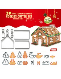 Fashion Silver Stainless Steel 3d Stereo Biscuit Gingerbread House Mould(18pcs)