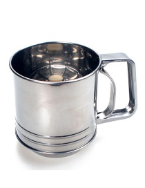 Fashion Silver Stainless Steel Single-layer Pointed Bottom Cup Flour Sieve