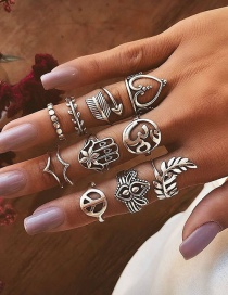 Fashion Silver Openwork Love Arrow Leaf Palm Ring 11 Piece Set